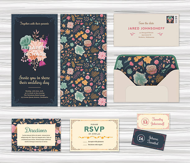 floral wedding invitation template set - femininity stock illustrations