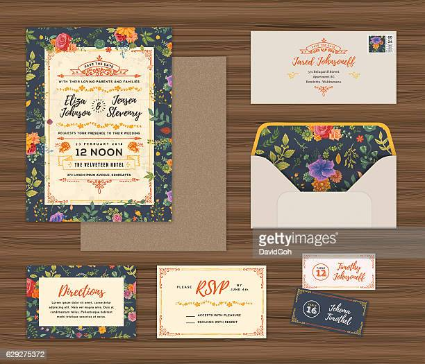 floral wedding invitation template set - envelope stock illustrations, clip art, cartoons, & icons