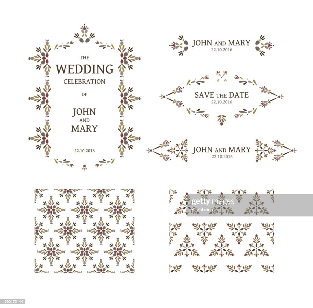 floral wedding invitation template set ベクトルアート getty images