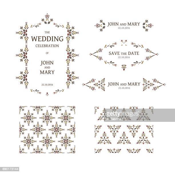 Conjunto de plantillas de invitación de boda floral