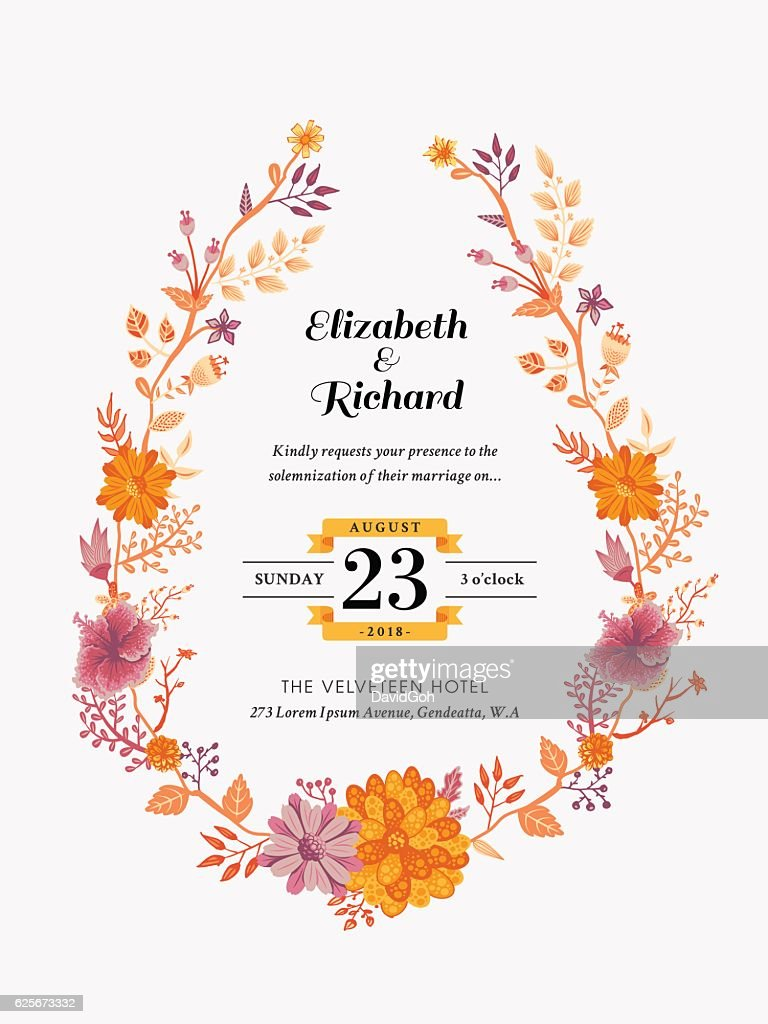 floral wedding invitation template ベクトルアート getty images