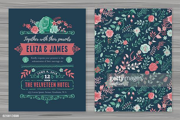 floral wedding invitation template - floral pattern stock illustrations