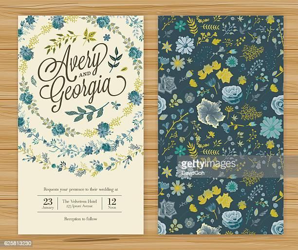 floral wedding invitation template - wedding invitation stock illustrations, clip art, cartoons, & icons
