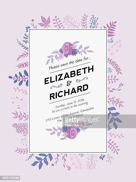 floral wedding invitation template - maroon stock illustrations