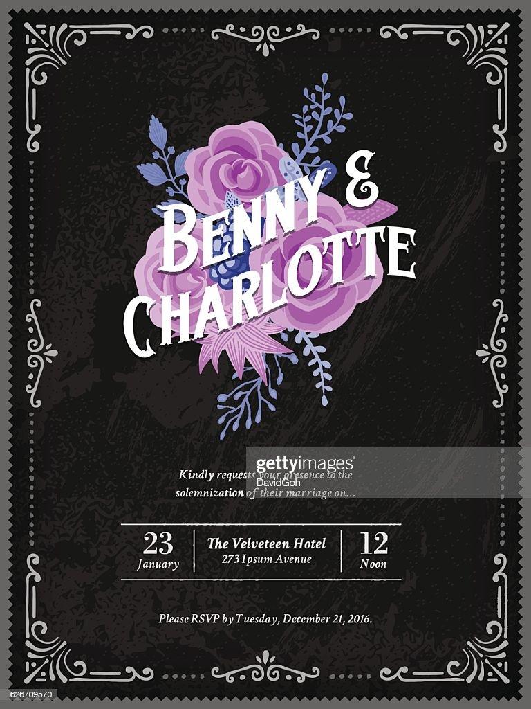 Floral Wedding Invitation Template : Vector Art