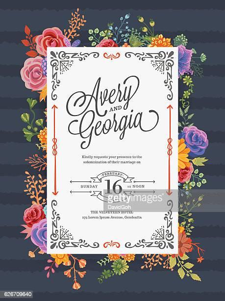 ilustraciones, imágenes clip art, dibujos animados e iconos de stock de floral wedding invitation template - ceremonia matrimonial