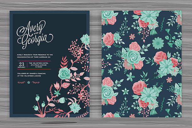 floral wedding invitation template - femininity stock illustrations