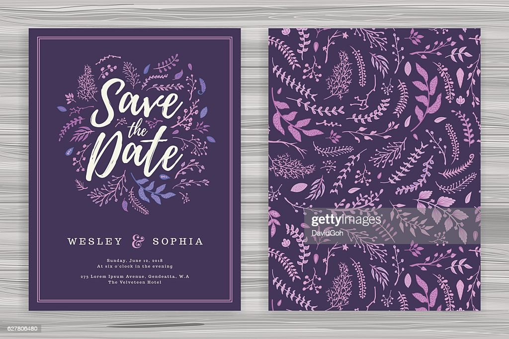 Floral Wedding Invitation Template : stock illustration