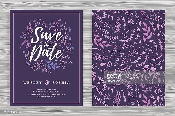 floral wedding invitation template - purple stock illustrations