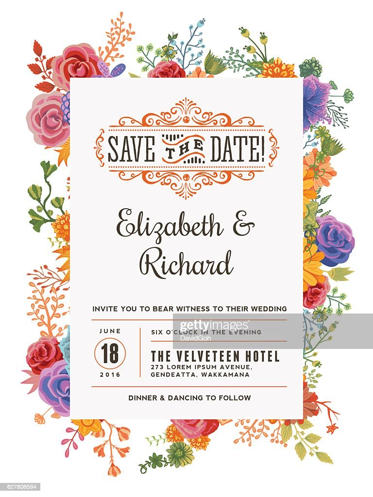 Floral Wedding Invitation Template : Ilustración de stock