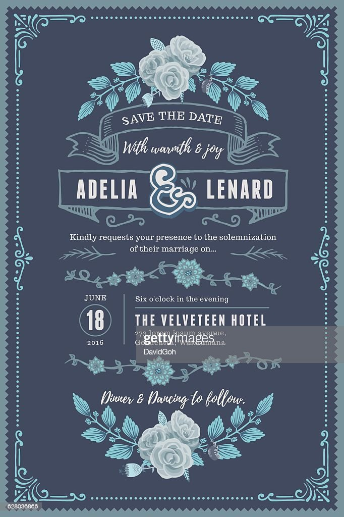 Floral Wedding Invitation Template : Vector Art