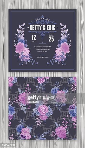 floral wedding invitation template - maroon stock illustrations, clip art, cartoons, & icons
