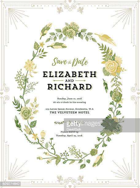floral wedding invitation template - intricacy stock illustrations