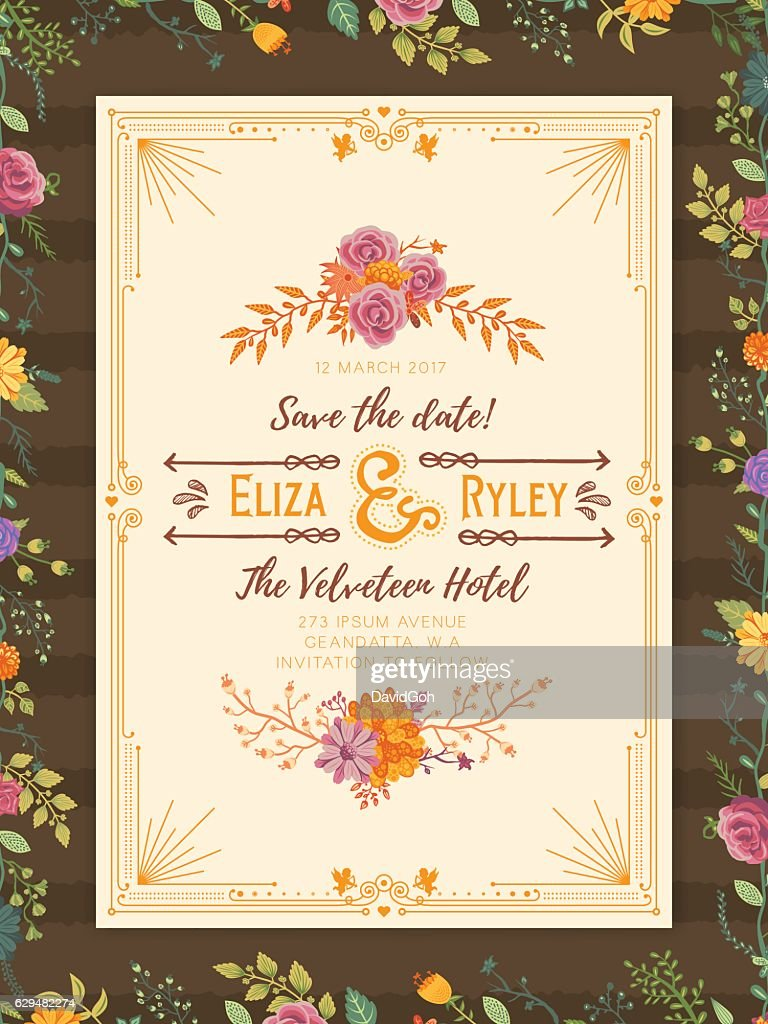 Floral Wedding Invitation Template Clipart Vectoriel Getty Images