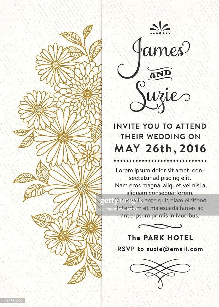 Floral Wedding Invitation : Vector Art
