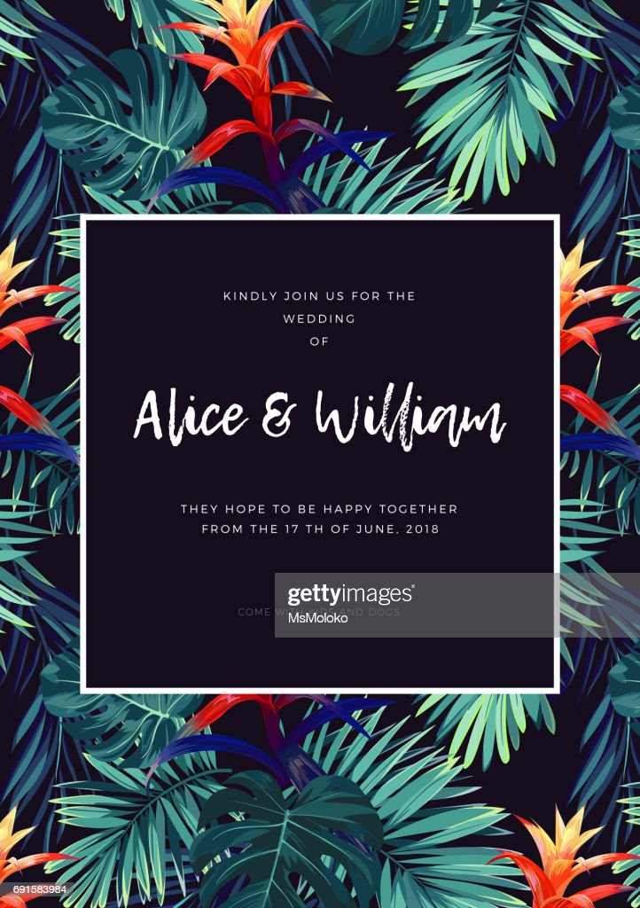 Floral wedding invitation with guzmania flowers, monstera and royal palm leaves. Exotic hawaiian vector background