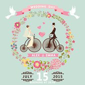 Floral wedding invitation.Bride , groom on retro bike