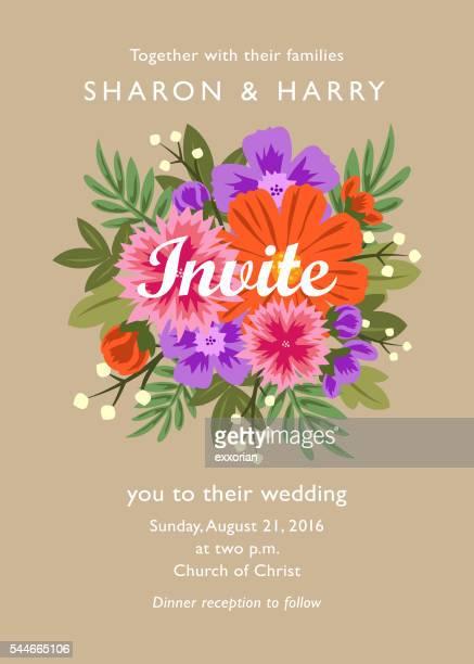 floral wedding invitations - wedding invitation stock illustrations, clip art, cartoons, & icons