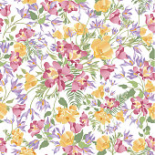 Floral  white seamless pattern. Flower bouquet background. Sprin