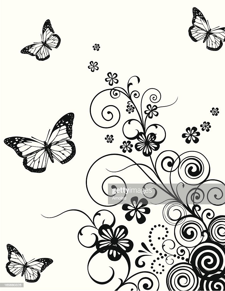 Floral with butterfly background