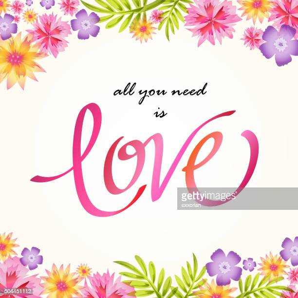 floral with love lettering - mothers day text art stock illustrations