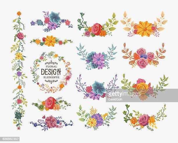 floral wreaths and bouquets - flower stock illustrations