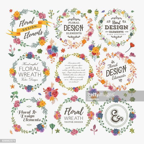 ilustraciones, imágenes clip art, dibujos animados e iconos de stock de florals wreath & borders set - david ramos