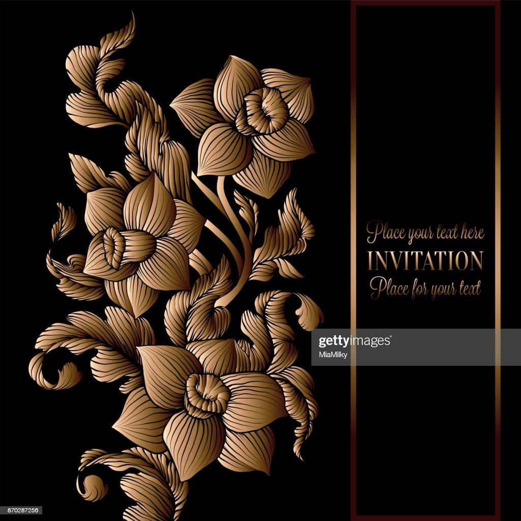 Floreal Hintergrund Mit Antik Luxus Schwarz Und Gold Vintage Rahmen ...
