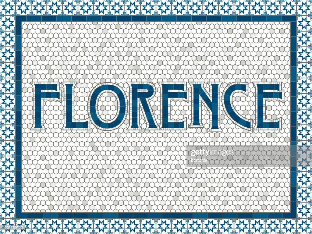 Florence Old Fashioned Mosaic Tile Typography
