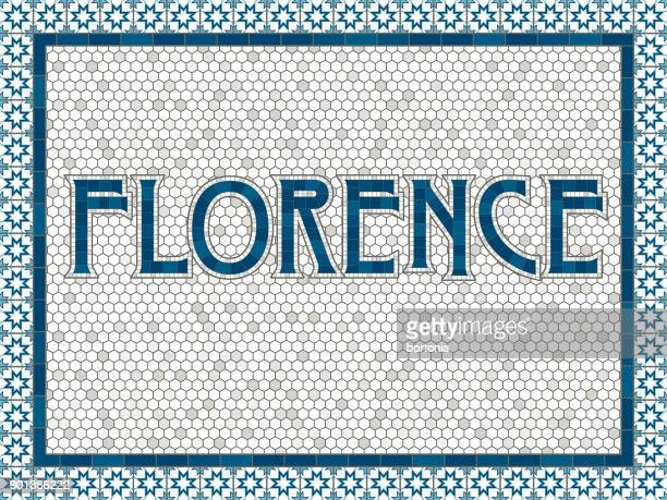 florence old fashioned mosaic tile typography - tuscany stock illustrations, clip art, cartoons, & icons