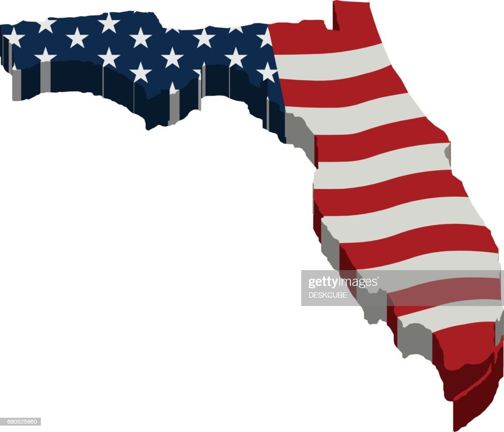 American Map Vector.Florida American Map 3d Vector Illustration Design Vector Art