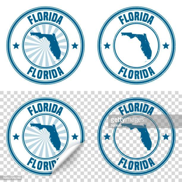Florida - Blue sticker and stamp with name and map