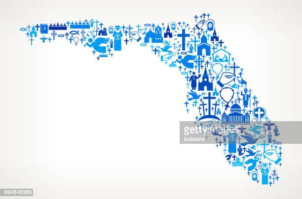 Florida Christianity and Religion Vector Icons Background