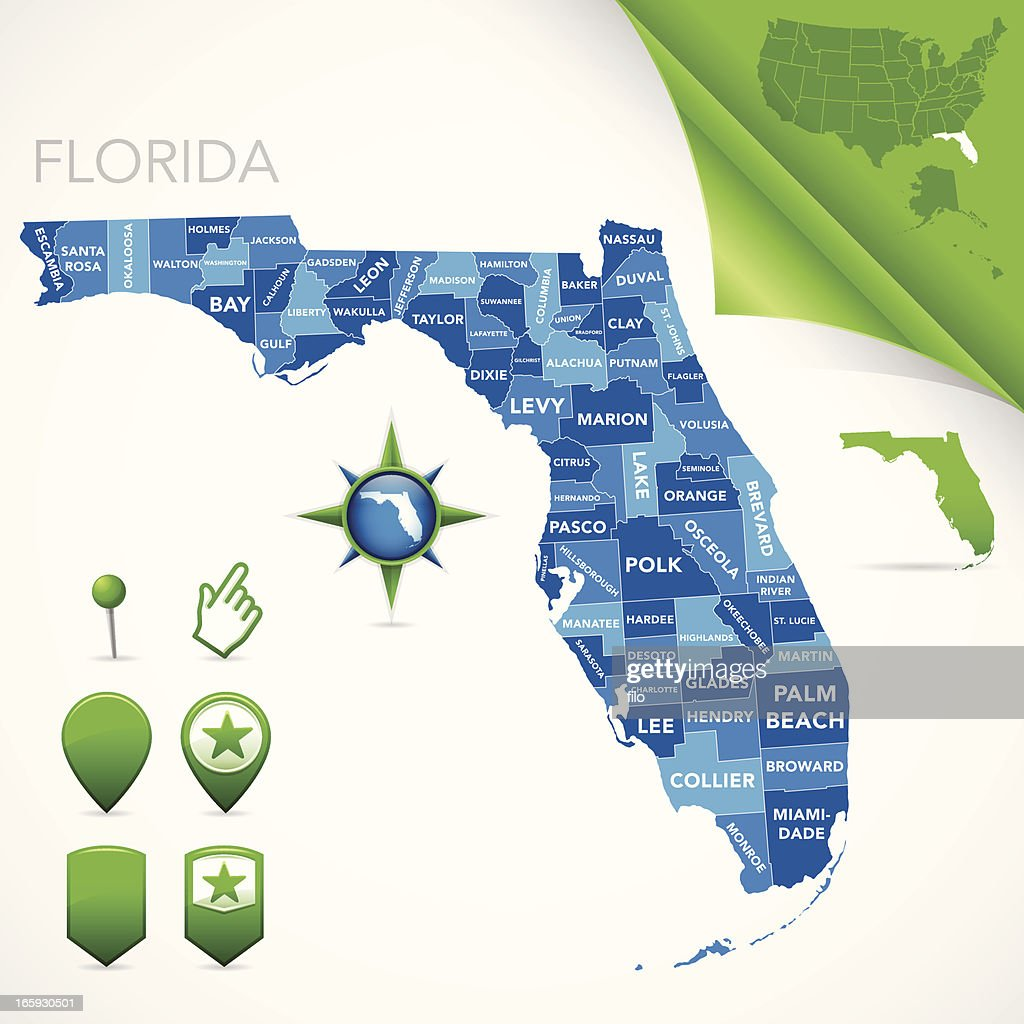 Florida Country Map.Florida County Map Vector Art Getty Images