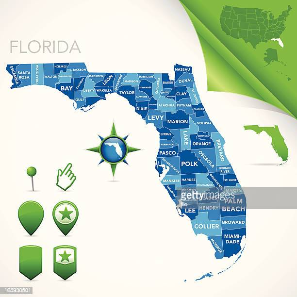 フロリダ州マップ - 支援団体点のイラスト素材/クリップアート素材/マンガ素材/アイコン素材