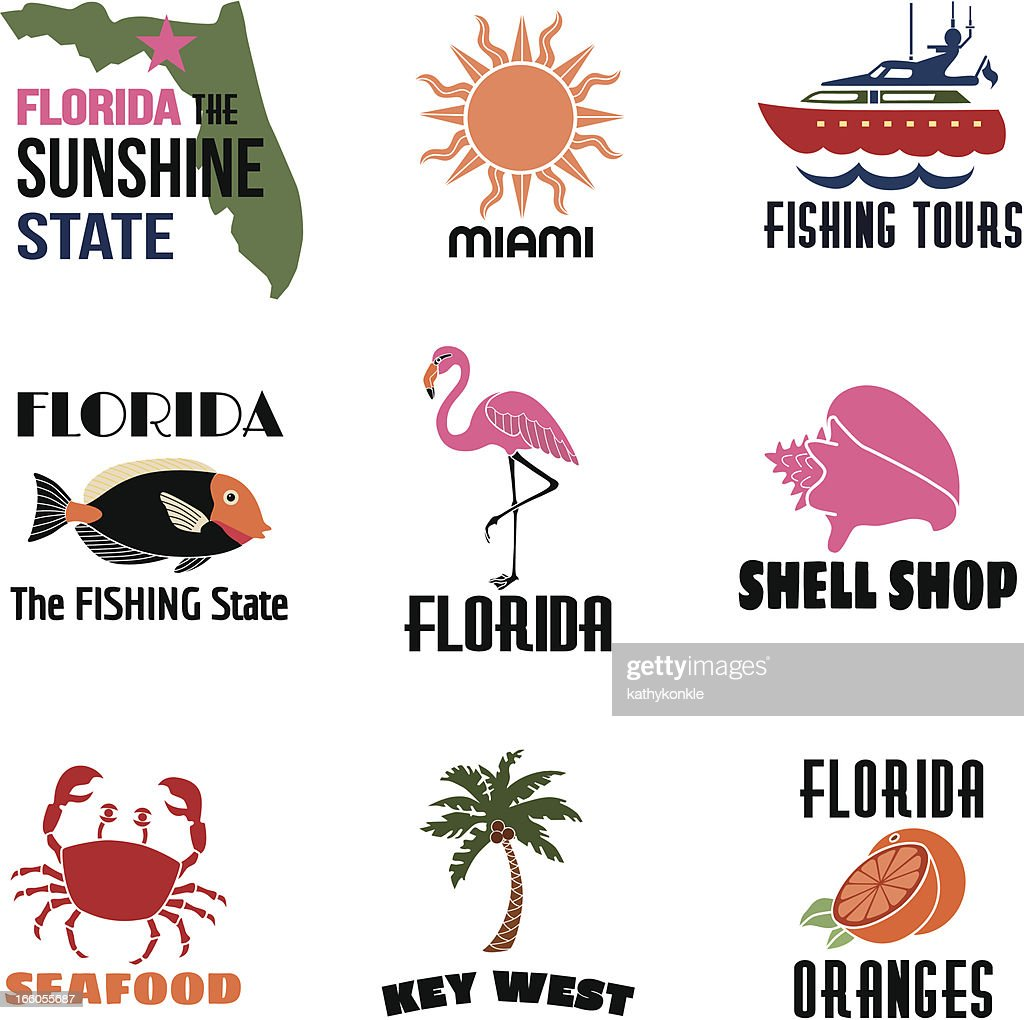 Florida icons with text : stock illustration