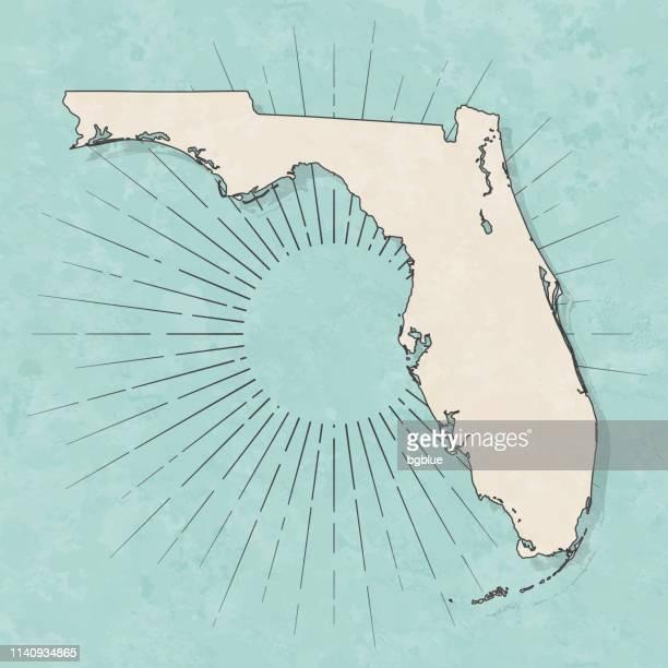 レトロなヴィンテージスタイルのフロリダマップ-古い質感の紙 - フロリダ州点のイラスト素材/クリップアート素材/マンガ素材/アイコン素材
