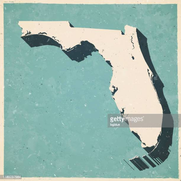 レトロなヴィンテージスタイルでフロリダマップ - 古いテクスチャ紙 - フロリダ州点のイラスト素材/クリップアート素材/マンガ素材/アイコン素材