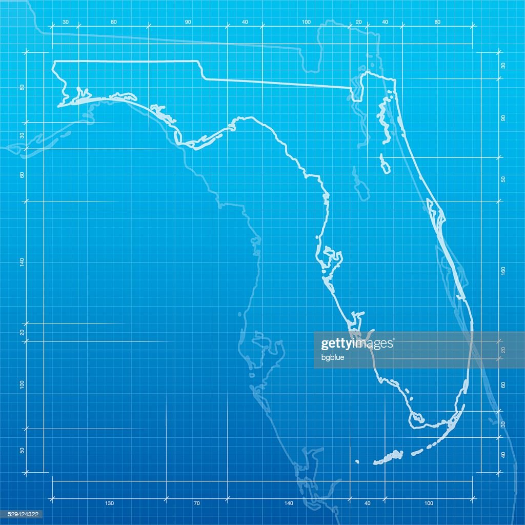 Florida map on blueprint background vector art getty images for Florida blueprint