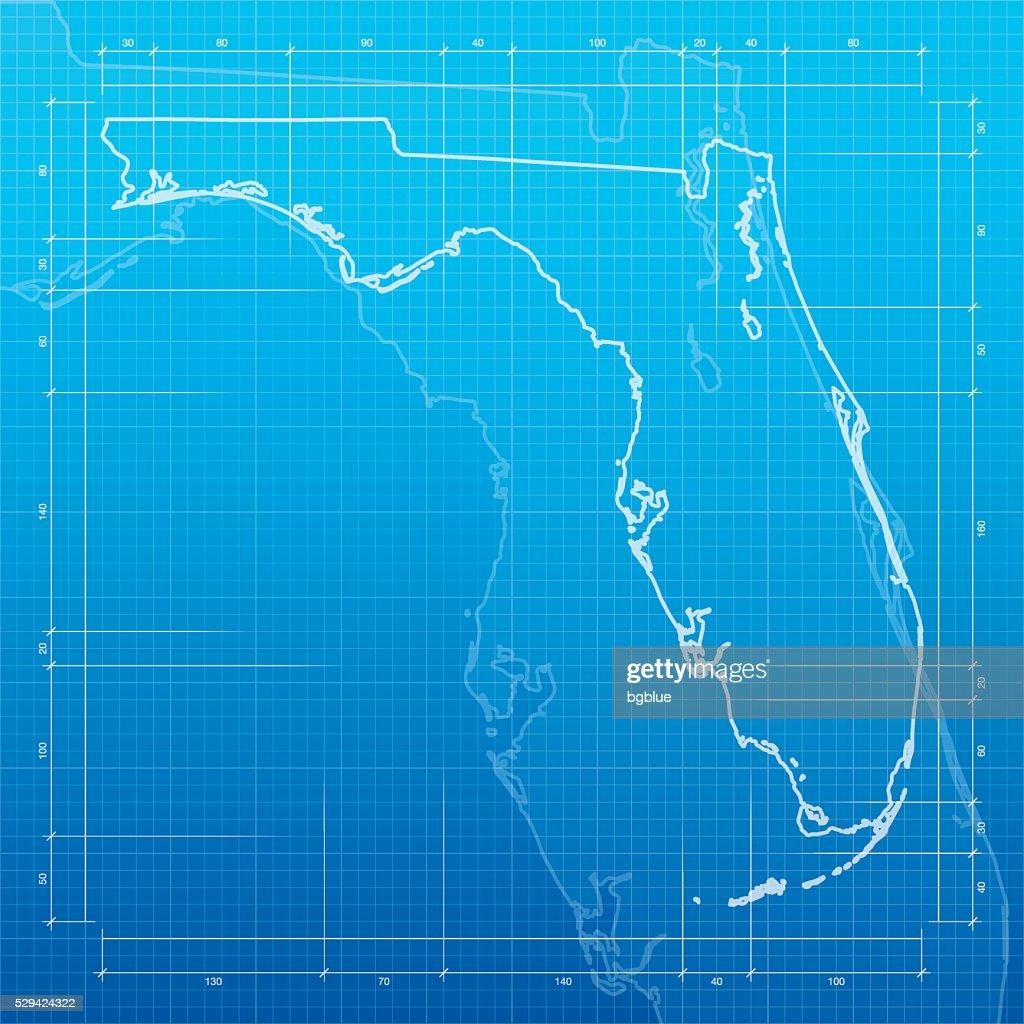 Florida map on blueprint background vector art getty images florida map on blueprint background vector art malvernweather Images