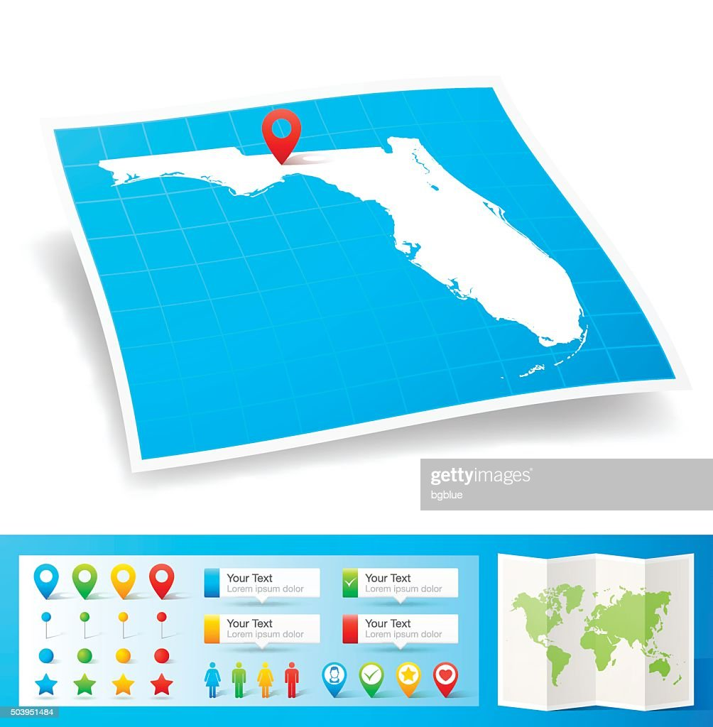 Florida Map with location pins isolated on white Background