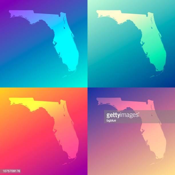 カラフルなグラデーション - トレンディな背景とフロリダの地図 - アメリカ州境点のイラスト素材/クリップアート素材/マンガ素材/アイコン素材