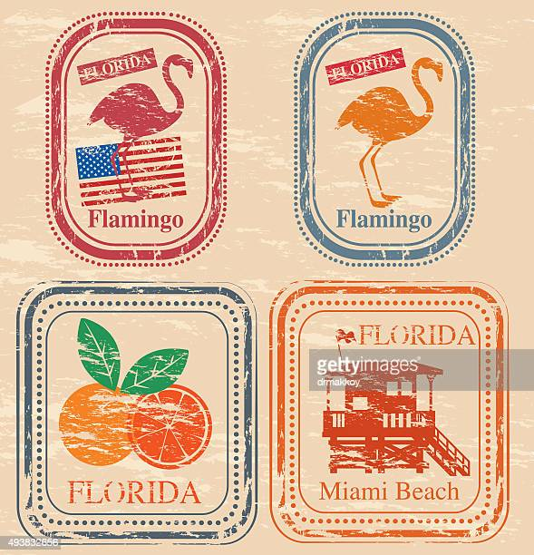 florida stamp - flamingo stock illustrations, clip art, cartoons, & icons