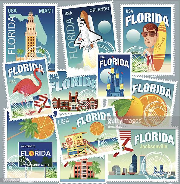 florida stamps - jacksonville beach stock illustrations