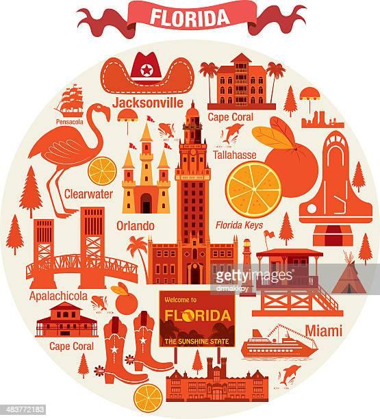 ilustrações, clipart, desenhos animados e ícones de flórida símbolos de viagem - estados da costa do golfo