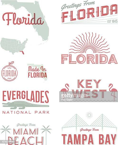 florida typography - st. petersburg florida stock illustrations