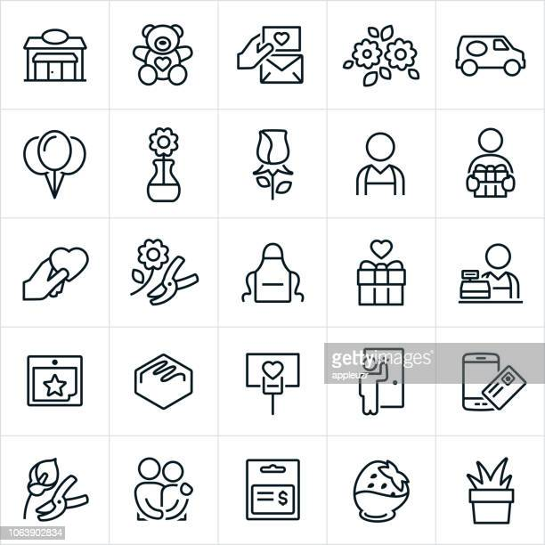 florist icons - single flower stock illustrations