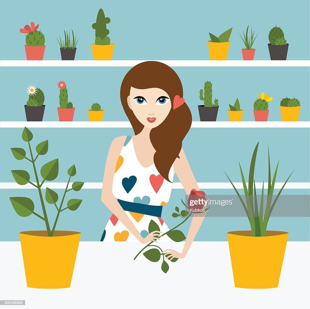 Florist sales woman in flower store. Flat design.