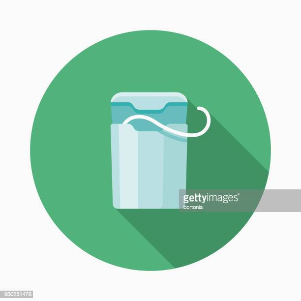 floss flat design dentist icon with side shadow - dental floss stock illustrations