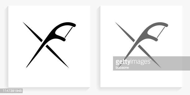 flossing tools black and white square icon - dental floss stock illustrations